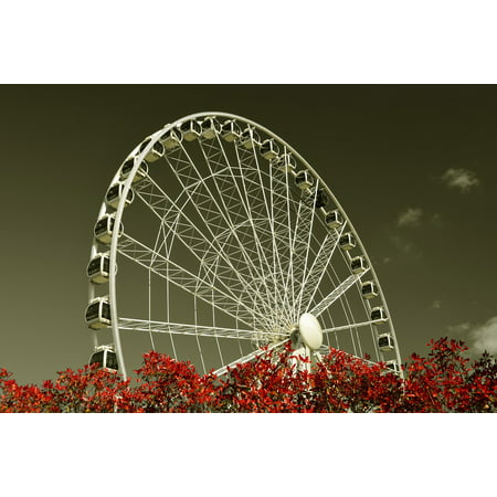 Peel-n-Stick Poster of York Eye Wheel England Urban Color City Colorful Poster 24x16 Adhesive Sticker Poster - Colorful Eye