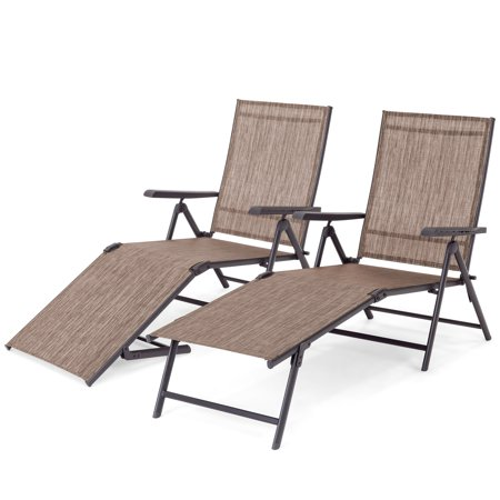 Best Choice Products Set of 2 Outdoor Adjustable Folding Steel Textiline Chaise Reclining Lounge Chairs w/ 4 Back & 2 Leg Positions, Brown ()