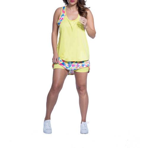 Plus Moda Tek Women's Plus - Size Printed Skort Compression Shorts