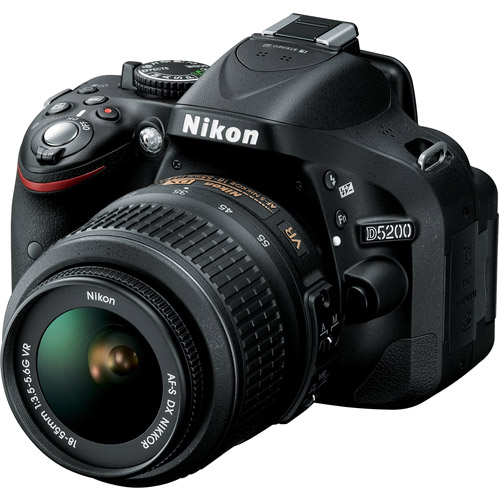 Nikon D5200 Digital SLR Camera with 24.1 Megapixels and 18-55mm Lens Included (Available in multiple colors)