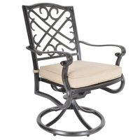 """37"""" Brown Ornate Outdoor Swivel Dining Chair Pack of 2"""