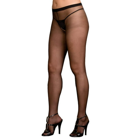Plus Pantyhose (Plus Size Hosiery Lingerie Sexy Sheer Crotchless Pantyhose- Fits size 16-22)