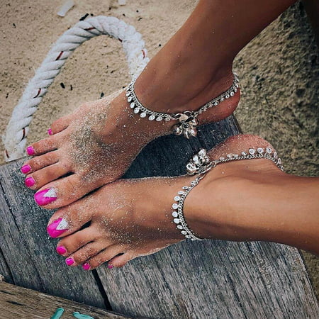 Boho Ankle Bracelet Ankle Chain Decorative Bohemian Style Tassels Vintage Anklet Alloy Anklet Charm Foot Chain for Women Ladies, Silver