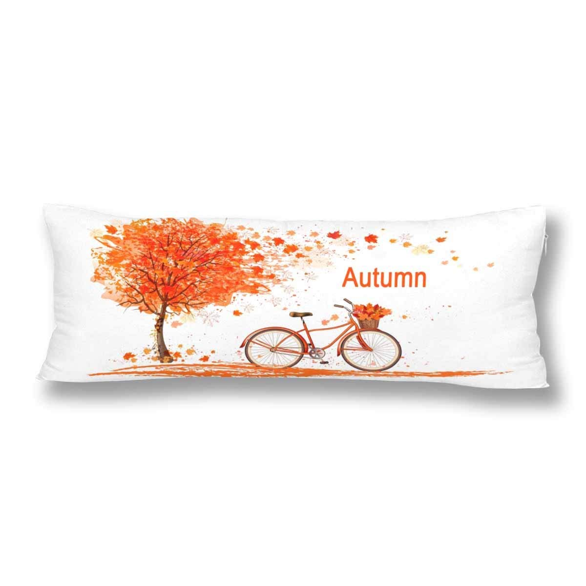 ABPHOTO Autumn Nature Tree and Bicycle Body Pillow Covers Pillowcase 20x60 inch Orange Fall Tree Leaves Bike Body Pillow Case Protector