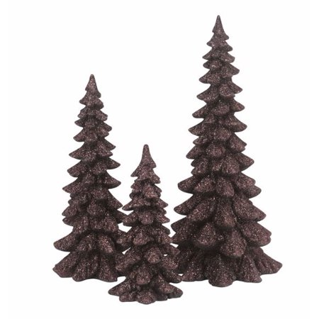 Department 56 Snow Village Brown Glitter Christmas Trees Figurine Set of 3