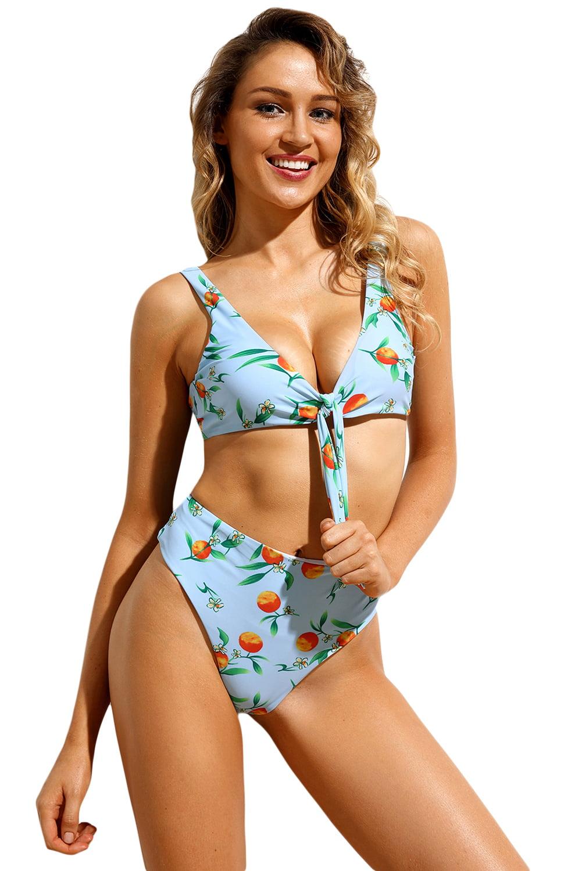 Juniors' Swimsuit Celebrity Light Blue Floral Print Tie Front High Waist Bikini (Small,MultiColor)
