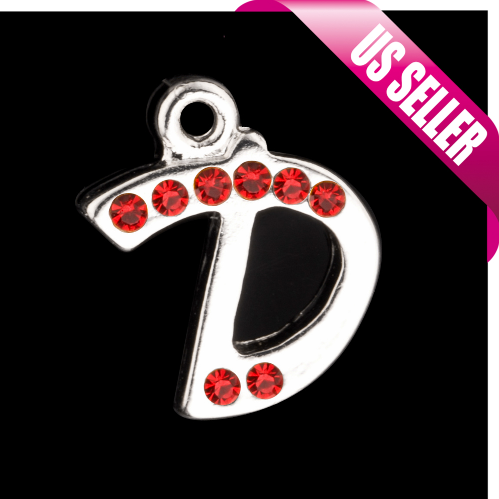 Alphabet Charms, Silver Plated Light Siam Czech Rhinestone Letter D 17.5x14mm pack Of 2pcs