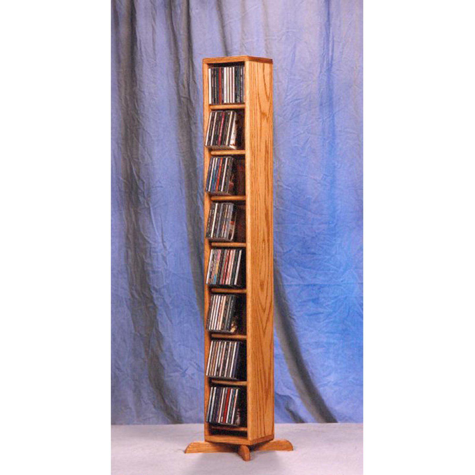 The Wood Shed Solid Oak Dowel 8 Tier 112 CD Media Cabinet