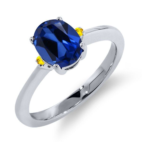 1.70 Ct Oval Blue Simulated Sapphire Yellow Sapphire 925 Sterling Silver Ring