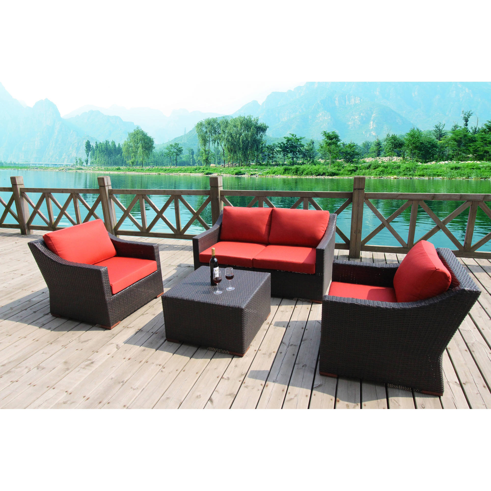 Bellini Home and Garden Cava Five-Piece Deep Seating Loveseat Set