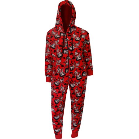 - Betty Boop Red Plush Onesie Hoodie Pajama