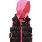 Toddler Girls' Hooded Puffer Vest with Fleece Hood