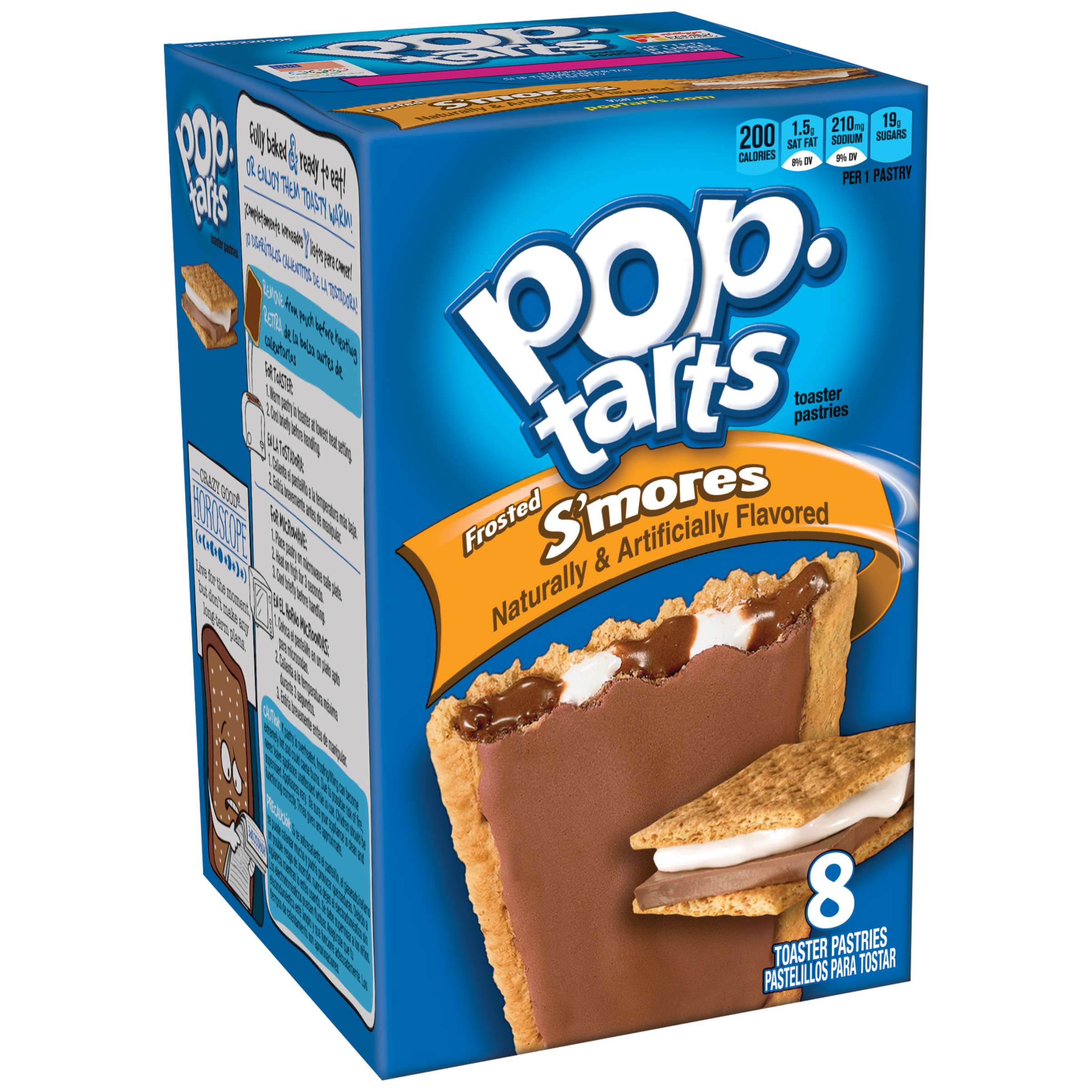 Kellogg's Pop-Tarts Breakfast Toaster Pastries, Frosted S'mores Flavored, 14.7 oz 8 Ct
