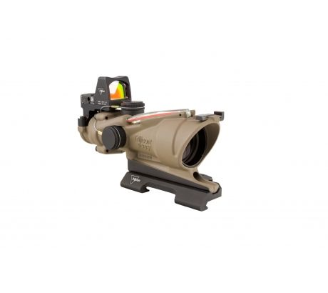 Trijicon 4x32 ACOG ECOS, Dual Illuminated Red Crosshair 5.56 Reticle w  Backup I by