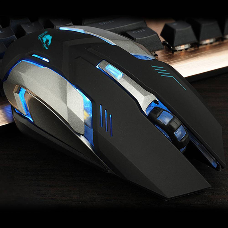 AKDSteel LED Wireless Optical Gaming Mouse Rechargeable X7 High Resolution Mouse White