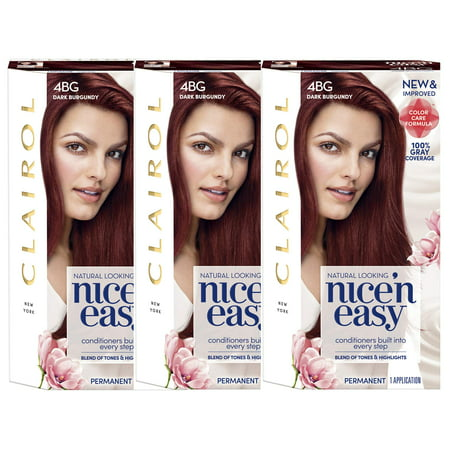 Clairol Nice 'n Easy Permanent Hair Color 4BG Dark Burgundy, 3 -