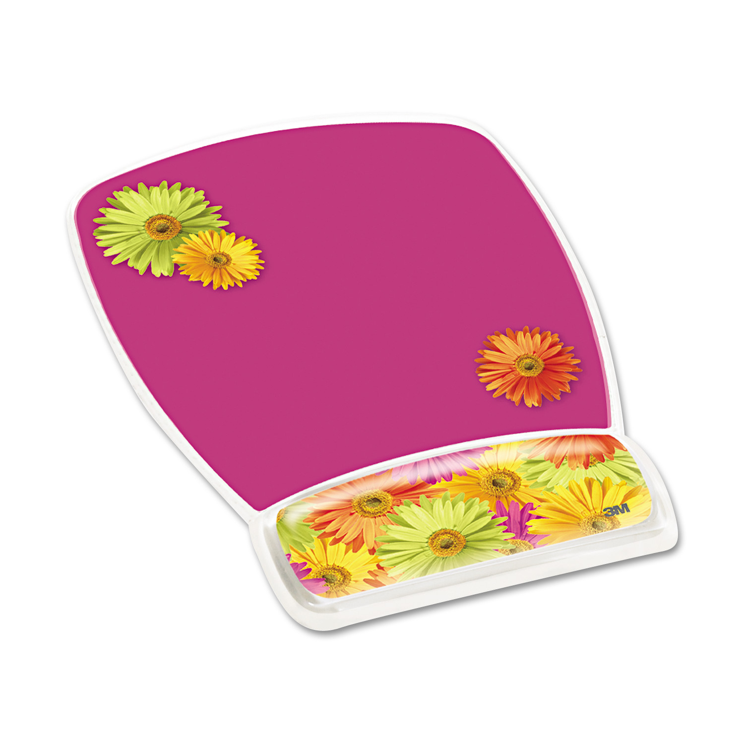 3M Fun Design Clear Gel Mouse Pad Wrist Rest, 6 4 5 x 8 3 5 x 3 4, Daisy Design by 3M