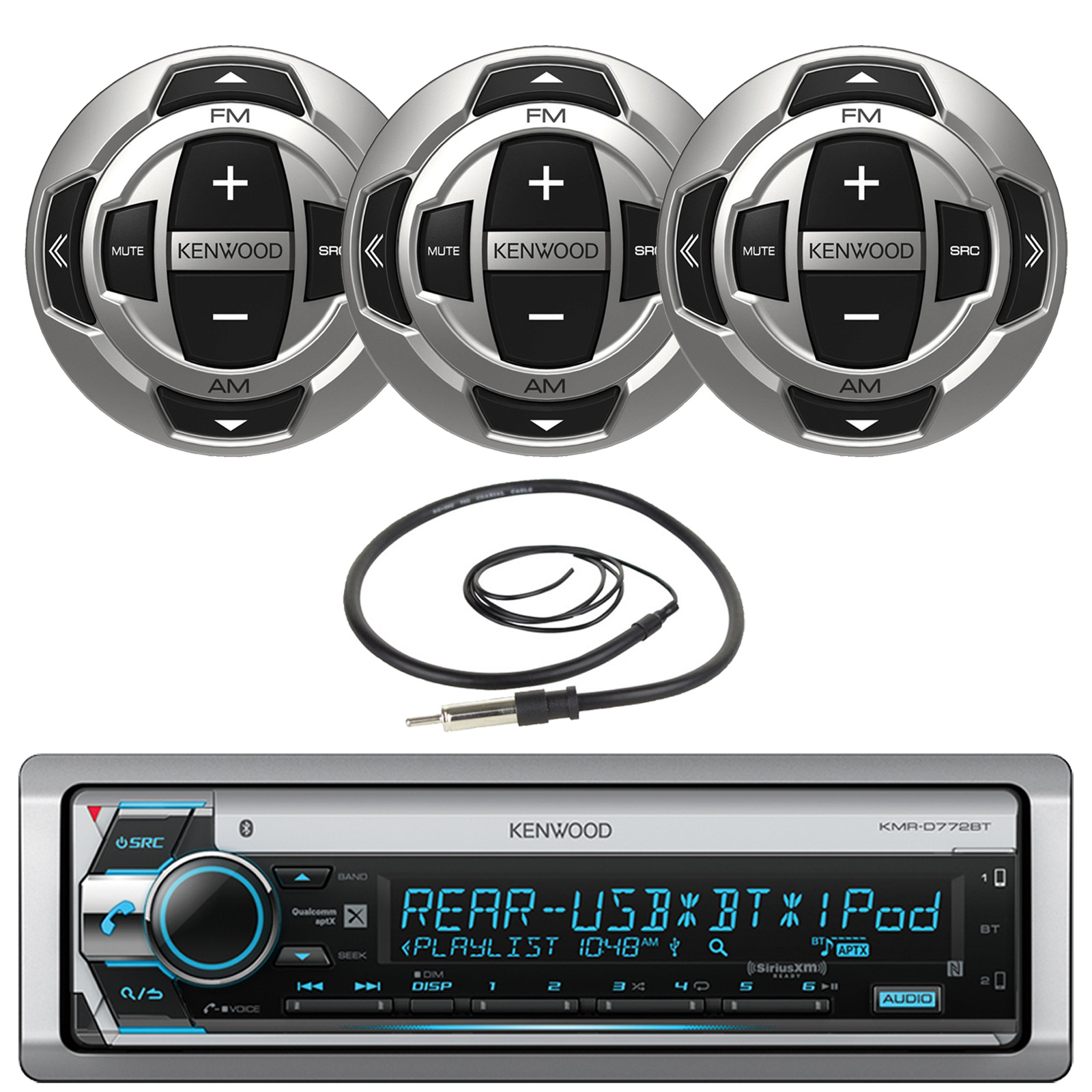 """Kenwood Single DIN Marine Boat Yacht USB CD Player Bluetooth Stereo Receiver, 3x Kenwood Wired Remote, 22"""" Enrock AM/FM Antenna"""