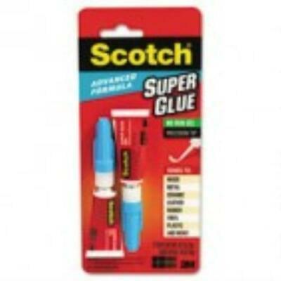 2PK Scotch Single Use Super Glue, 1/2 Gram Tube, Gel,