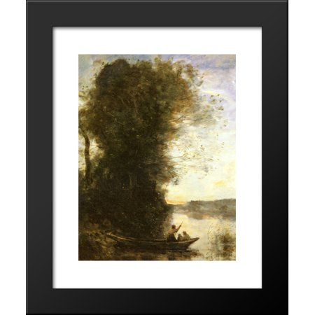 Womens In The Bank (The Boatman Left the Bank with a Woman and a Child Sitting in his Boat, Sunset 20x24 Framed Art Print by Camille)