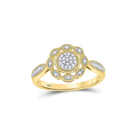 Yellow Gold Diamond Cable - 10kt Yellow Gold Womens Round Diamond Milgrain Cable Cluster Ring 1/8 Cttw
