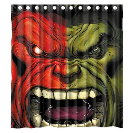 DEYOU Incredible Red And Green Hulk Shower Curtain Polyester Fabric Bathroom Size 60x72 Inches