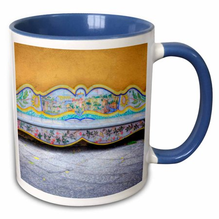 3dRose Italy, Sorrento, Amalfi Coast, Bench in The Town - EU16 TEG0509 - Terry Eggers - Two Tone Blue Mug, 15-ounce