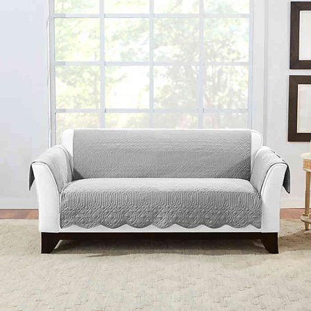 SURE FIT MICROTOUCH REVERSIBLE LOVESEAT PROTECTOR IN GREY
