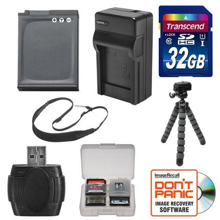 EN-EL12 Battery & Charger + 32GB SD Card, Tripod & Strap Essential Bundle for Nikon Coolpix A900, AW120, AW130, P340, S9700, S9900 Digital (Nikon Coolpix Aw130 Best Price)
