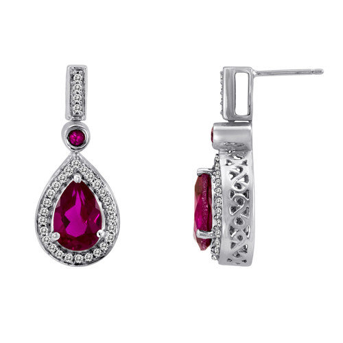 JewelExcess Oval Cut Ruby and Sapphire Drop Earrings