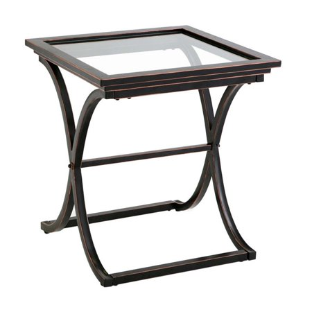 Southern Enterprises Vogue Square Glass Top End Table In Black
