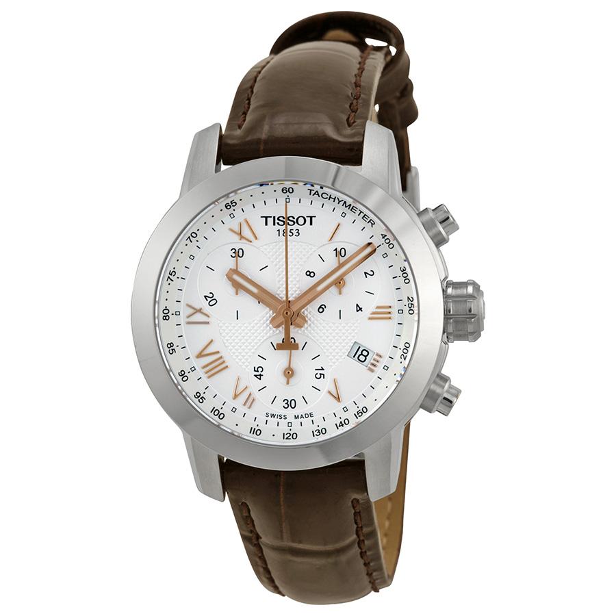 Tissot PRC200 Chronograph Silver Dial Ladies Watch T05521...