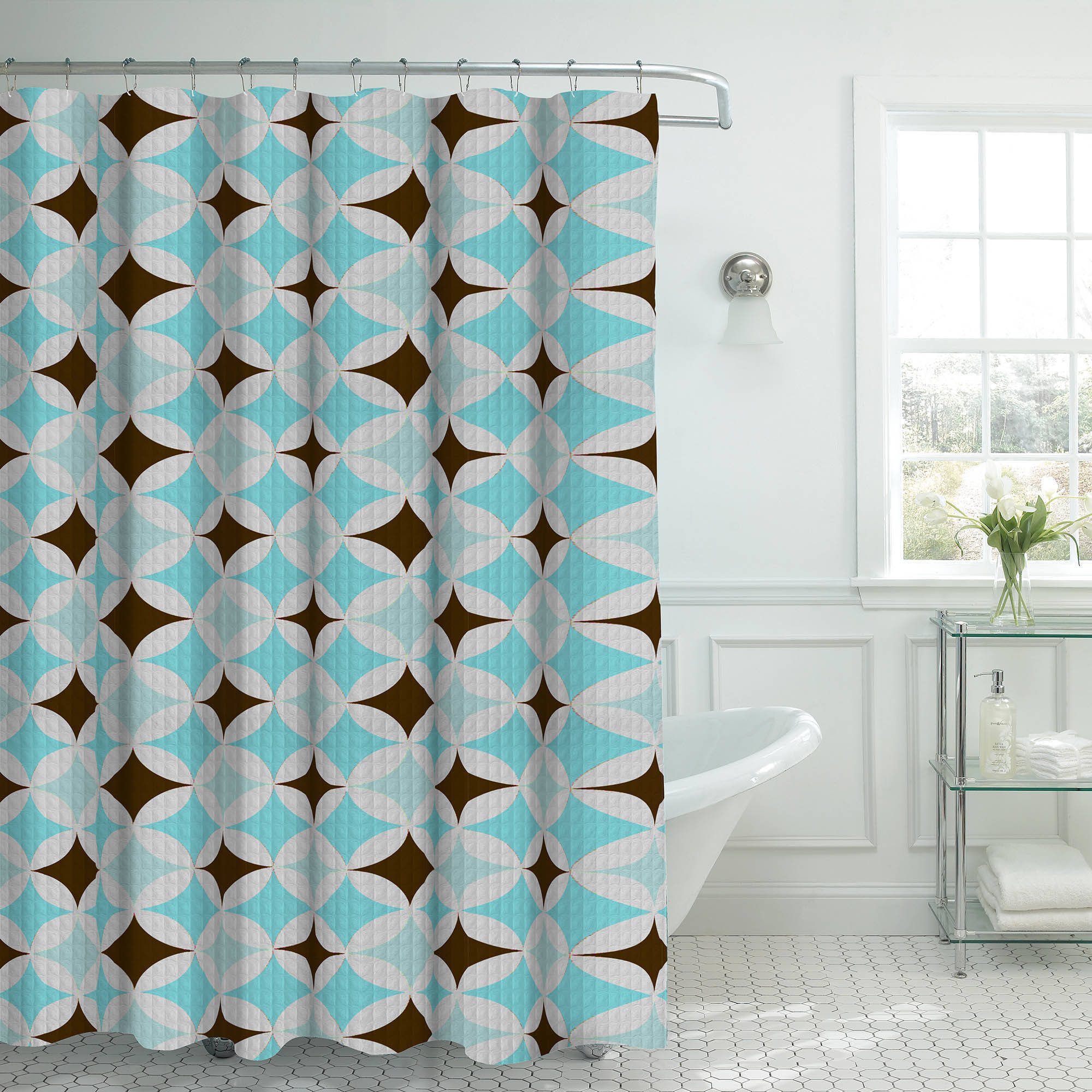 Bounce Comfort Oxford Weave Textured 13-Piece Shower Curtain Set with Metal Roller Hooks, Avatar Aqua