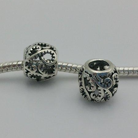 3 Beads - Ivy Filigree Barrel Silver Tone European Bead Charm (Ivy Charm)