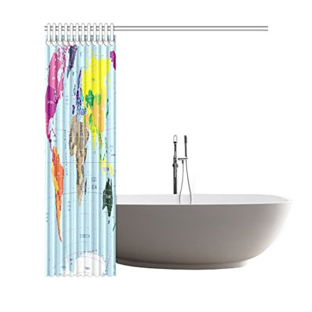 GCKG Globe Art Earth Shower Curtain,World Map Polyester Fabric Shower Curtain Bathroom Sets 66x72 Inches - image 2 of 3