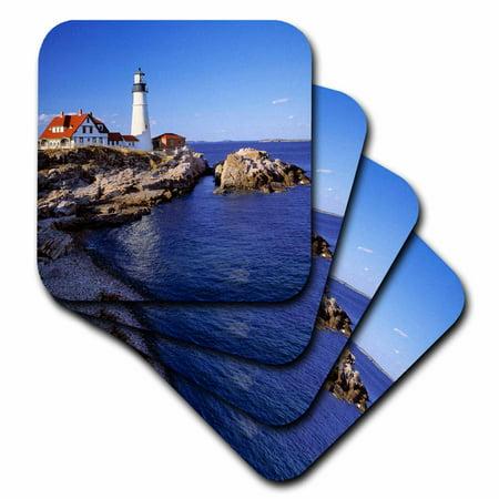 3dRose Maine, Portland Head Lighthouse - US20 RER0011 - Ric Ergenbright, Soft Coasters, set of 4