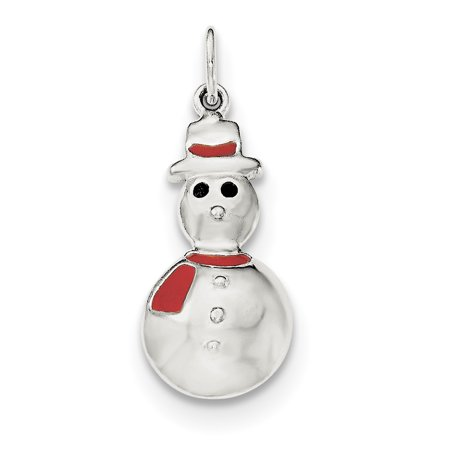 925 Sterling Silver Polished Enamel Snowman Shaped Pendant - image 2 de 2