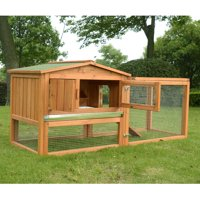 "PawHut 62"" Wooden Outdoor Guinea Pig Pet House / Rabbit Hutch Small Animal Habitat With Detachable Run And Elevated Main House"