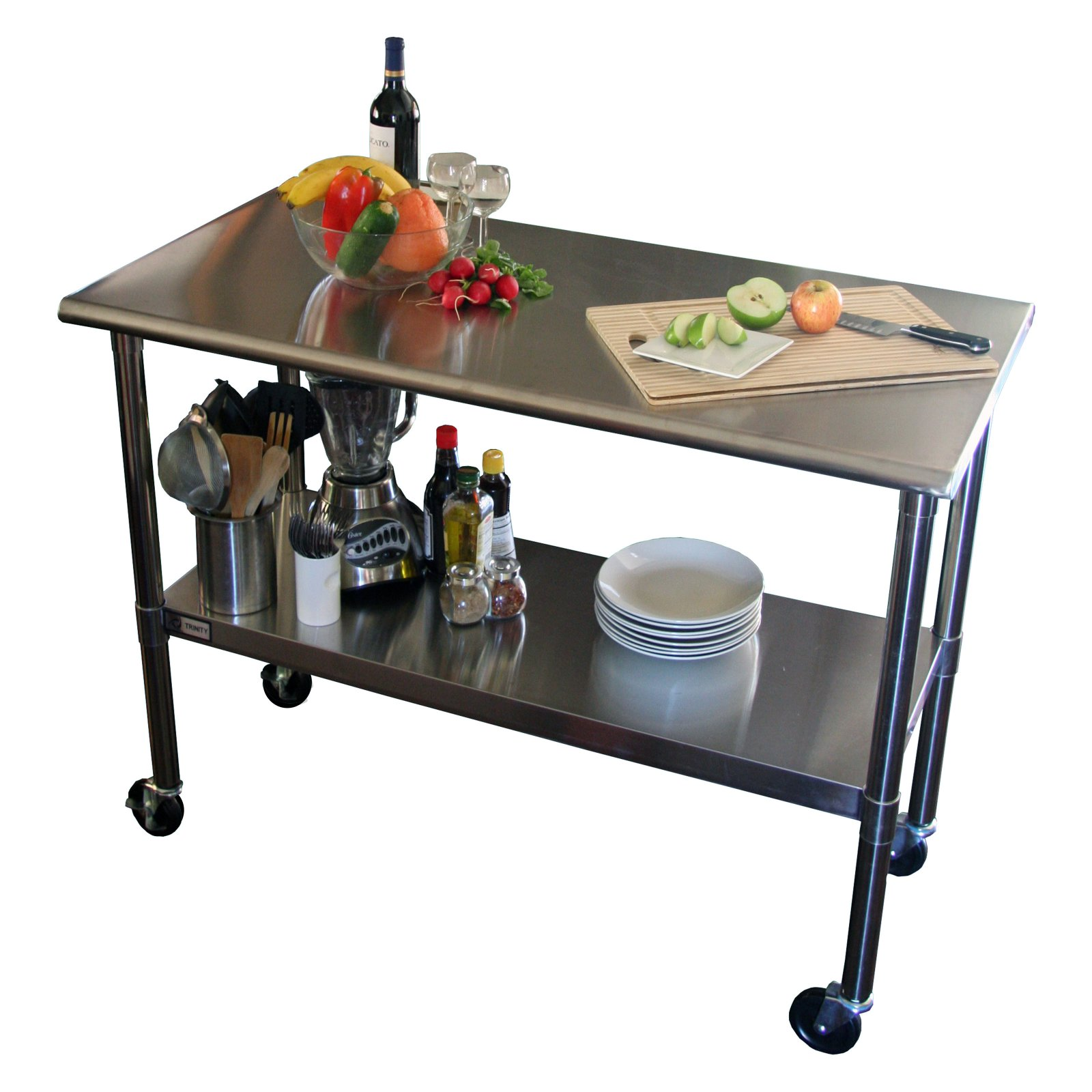 TRINITY EcoStorageu0026trade; 48 In. NSF Stainless Steel Prep Table With Wheels