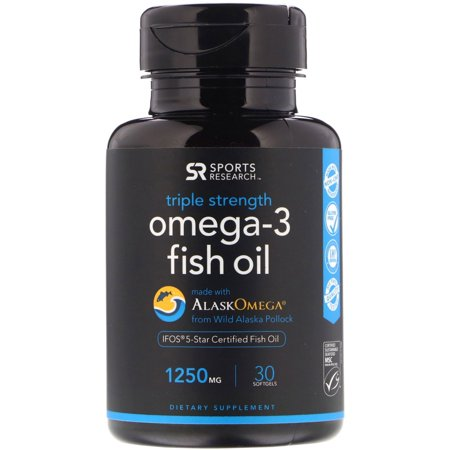 Sports Research  Omega-3 Fish Oil  Triple Strength  Triglyceride Form  1250 mg  30 (Best Form Of Omega 3 Supplement)