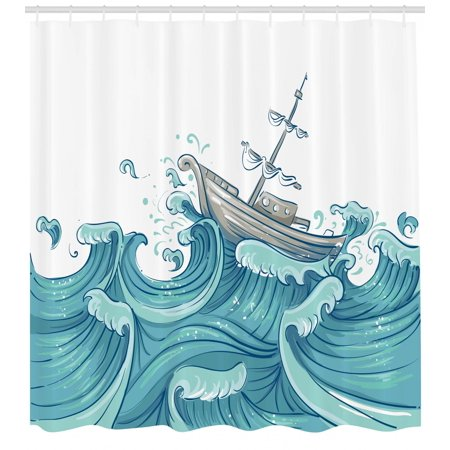Nautical Shower Curtain Ship Being Tossed By Giant Ocean Waves Aquatic Old Vessel Sea Journey