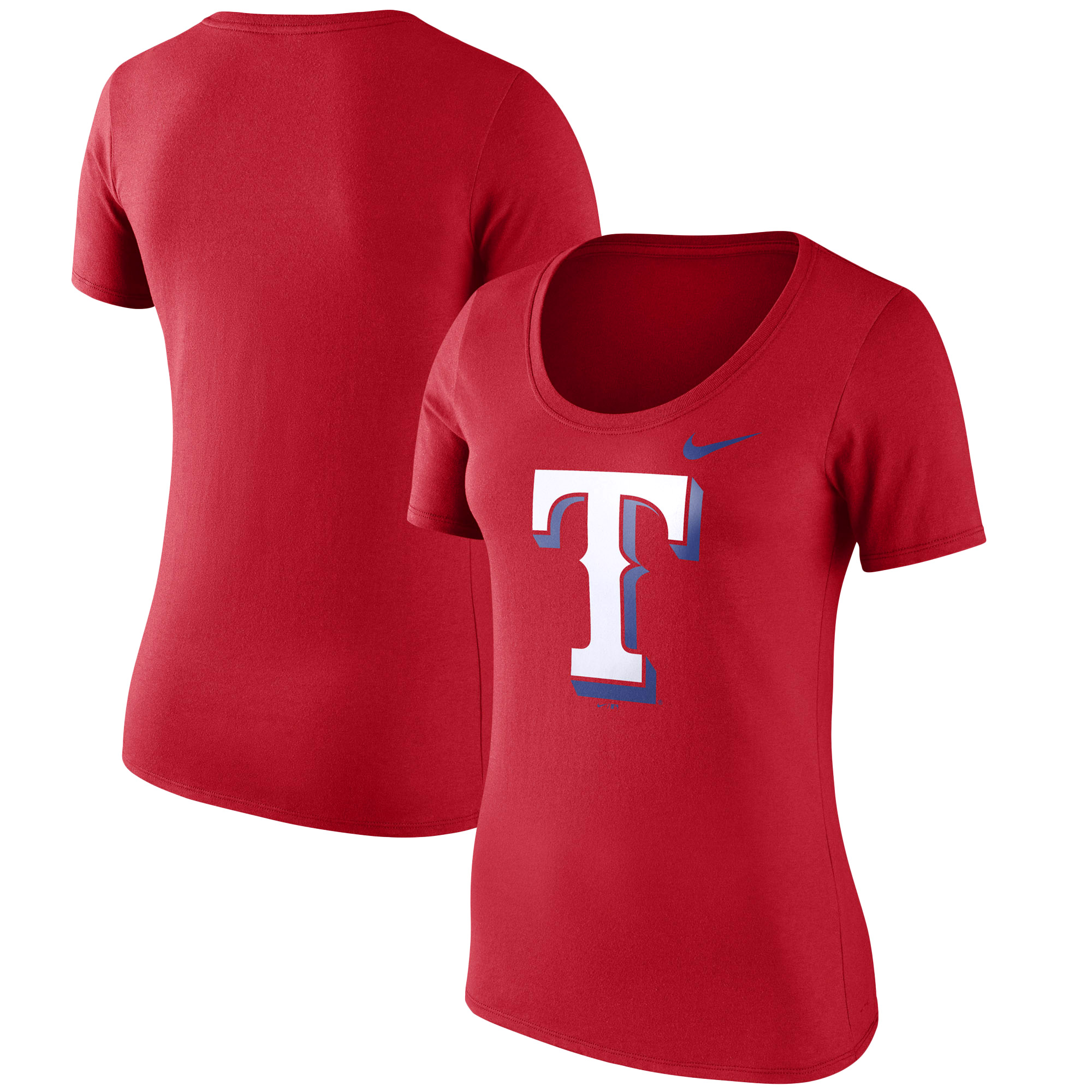Texas Rangers Nike Women's Logo Scoop Neck T-Shirt - Red