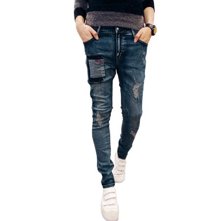 Azzuro Men's Distressed Patched Mid Rise Belt Loop Skinny Jeans (Size S  /  W30)