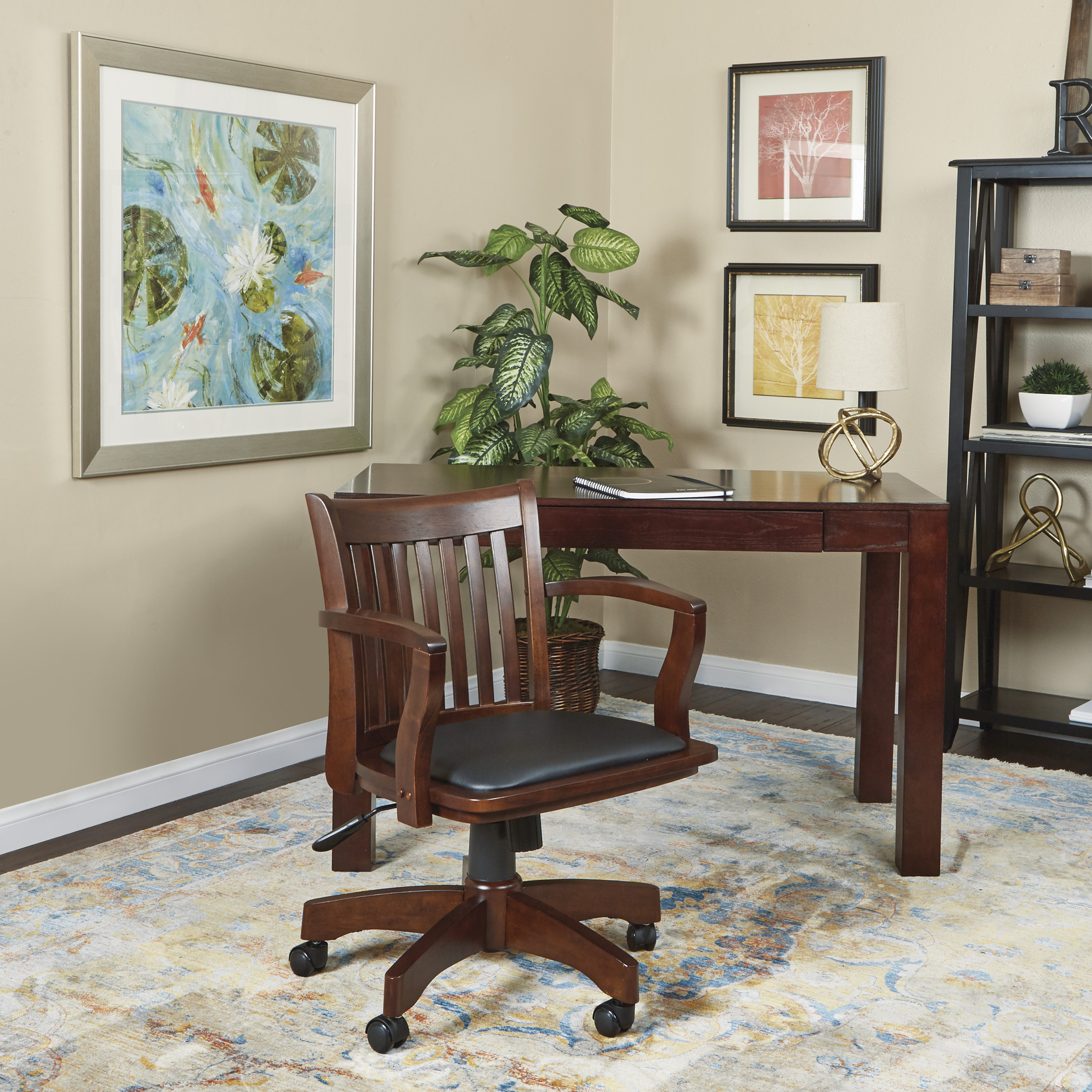 Deluxe Wood Bankers Chair With Vinyl Padded Seat, Espresso And Black Vinyl  Fabric