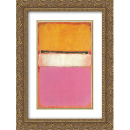 Mark Rothko 2x Matted 20x24 Gold Ornate Framed Art Print 'White Center (Yellow, Pink and Lavender on Rose)' (Gold Pink)