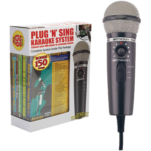 Emerson MM221 Plug 'N' Play Karaoke Microphone System with 150-Song DVD