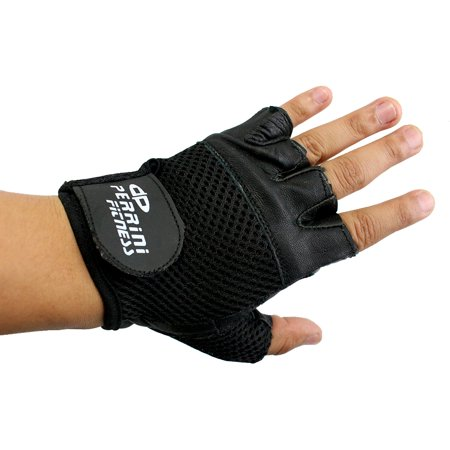 Perrini Leather Black Velcro Strap Weight Lifting Work Gloves All Size