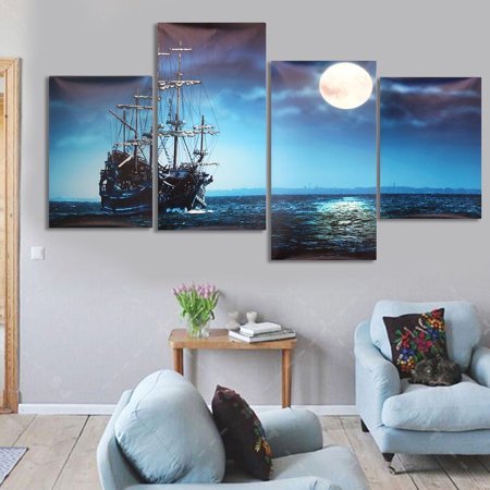 4 Panels Art Sea Ship Wall Art Oil Painting Giclee Landscape Canvas Prints for Home Decorations Unframed