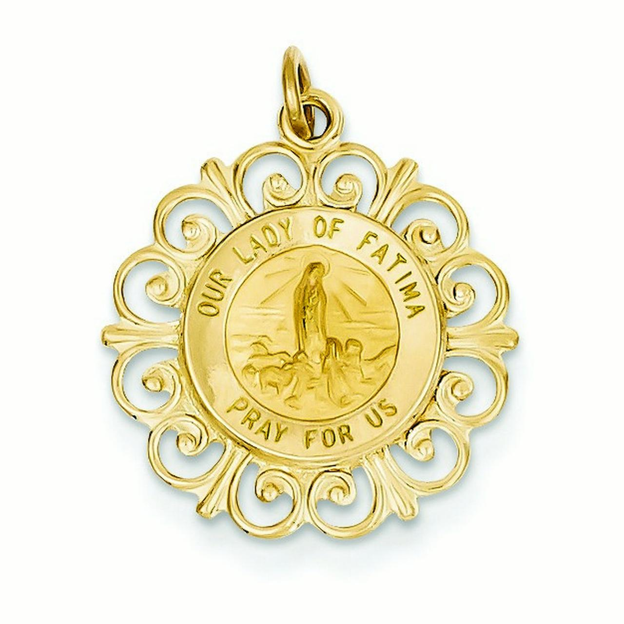 14k Yellow Gold Our Lady of Fatima Medal Pendant - Measures 19x19mm