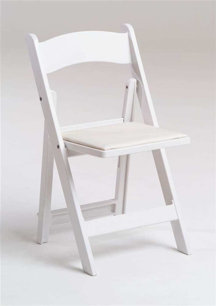 max resin folding chair w padded seat in white set of 4 white